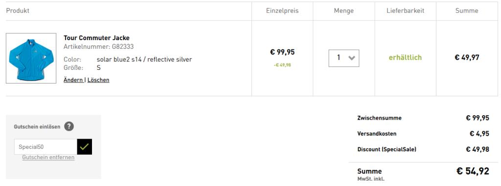 """Beispiel: Die winterfeste """"Tour Commuter Jacke"""" hat sonst einen Straßenpreis von etwa 75€"""