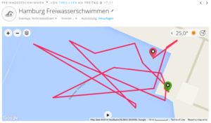 Beim Freiwasserschwimmen funktioniert die Positionsbestimmung nicht sonderlich gut
