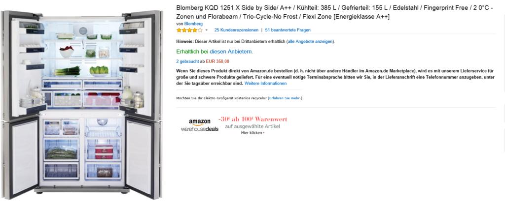 Eigentlich offensichtlich: Ein 1.500€ Kühlschrank für so wenig Geld... da ist was faul!